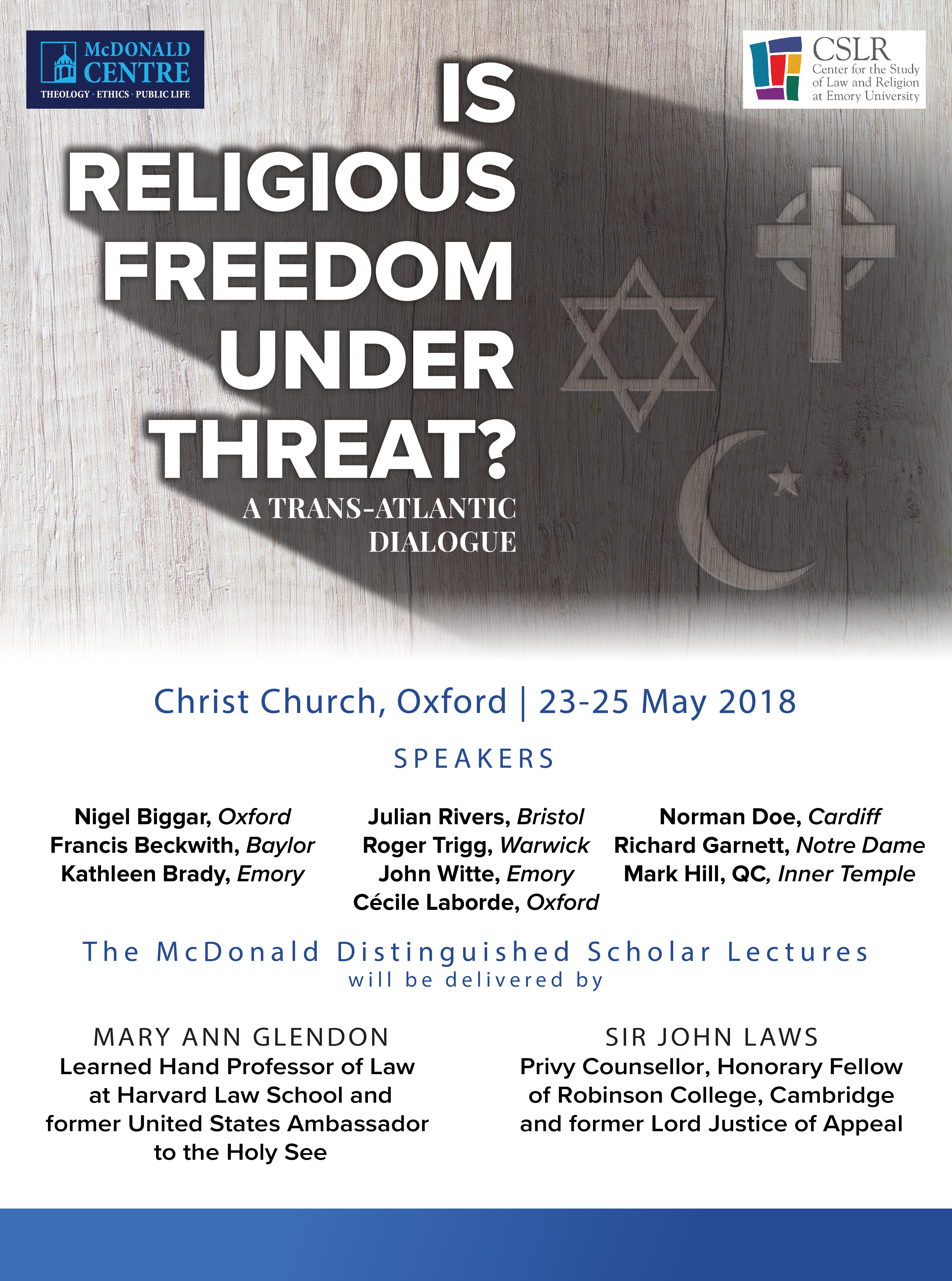 Creative And Academic Freedom Under Threat From Religious: Final McDonald Lectures To Focus On Religious Freedom